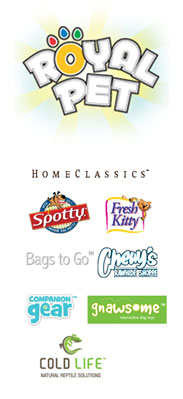 Image of brand logos: Royal Pet, Fresh Kitty, Spaw Essentials, Spotty, Companion Gear